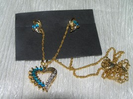 Estate Demi Aqua Blue Marquise Rhinestone with Clear Accents Goldtone Op... - $10.39
