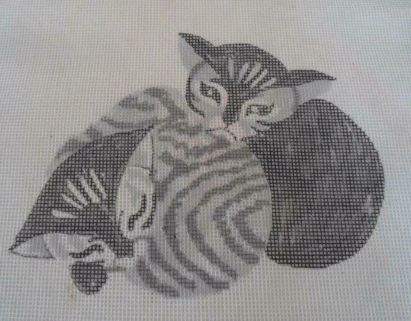 Needlepoint Canvas 2 Gray Tiger Cats Snuggling Kitties #423 Hand Painted - $21.32