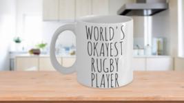 Worlds Okayest Rugby Player Mug Funny Gift Idea For Him Dad Boyfriend Bi... - $14.65+