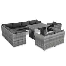 vidaXL 10 Piece Garden Lounge Set with Armchiar Poly Rattan Gray Outdoor... - $456.99