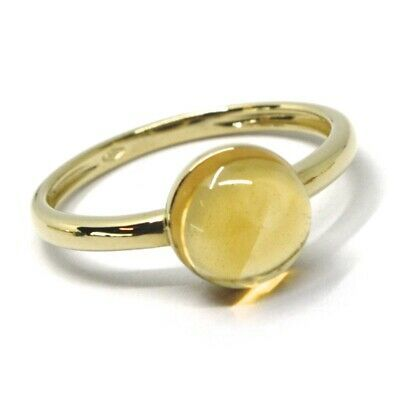 SOLID 18K YELLOW GOLD RING, CABOCHON CENTRAL CITRINE, DIAMETER 8mm