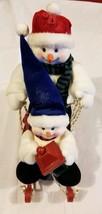 Prima Creations Snowmen Snowman on Sled Figures Christmas Holiday Xmas F... - $27.70