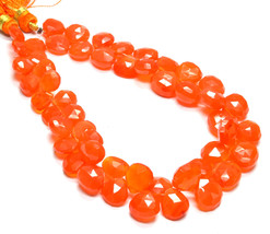 """PH-089 Natural Carnelian Heart Faceted Gemstone Beads 8mm-10mm 132Ct 8"""" ... - $98.99"""