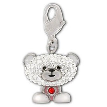 Swarovski 1161103 Silver Teddy Bear With Red Rhinestone Clip Charm - $39.50