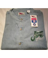 New York Jets Denim Shirt Long Sleeve No Collar Size Large NFL Football - $15.10