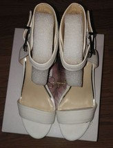 Jessica Simpson Cristabel Powder White Leather  Mid Wedge Dress Sandals ... - $31.79