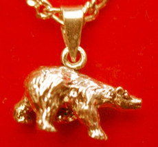 LOOK New 3D 24kt Gold plated solid Sterling Silver Grizzly Bear Pendant Charm Je - $15.30