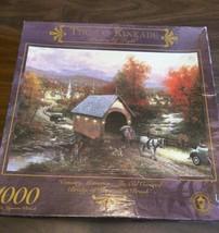"Thomas Kinkade Old Covered Bridge Thomaston Brook 1000 Pc Jigsaw Puzzle 27x20"" - $26.18"
