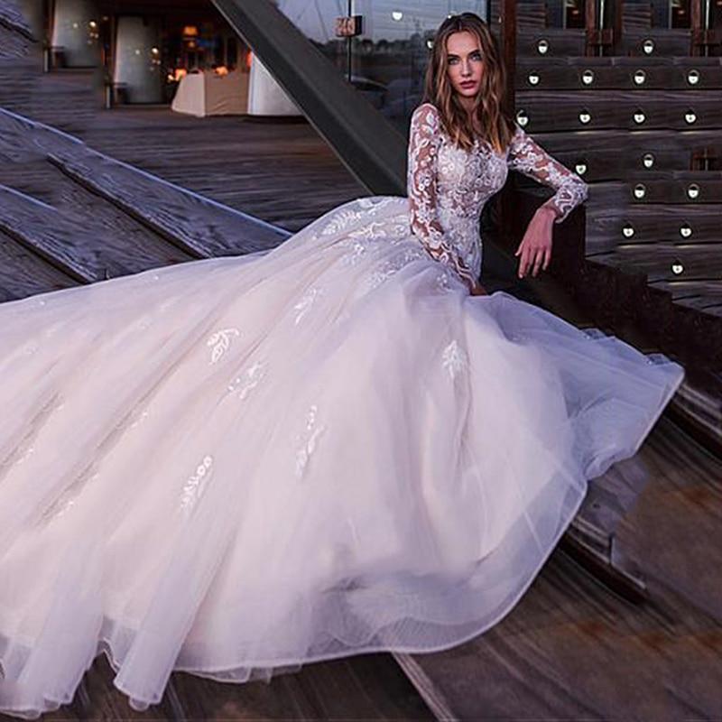 Boho long sleeves wedding dress 2020 robe de mariee sexy top lace appliques bridal dress plus
