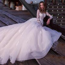 Sexy Long Sleeve Top Lace Appliques  A-Line Bridal Dresses + Plus Sizes