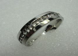 UNISEX MENS WOMENS STAINLESS CZ ETERNITY PROMISE WEDDING BAND RING 6MM S... - $13.99
