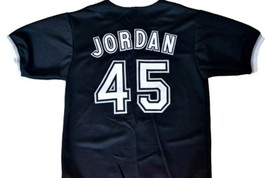 Michael Jordan #45 Birmingham Barons Button Down Baseball Jersey Black Any Size image 2