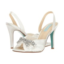 Betsey Johnson Briel Ivory Satin Crystal Wedding Heel Pumps Sandals 6.5 - $78.71