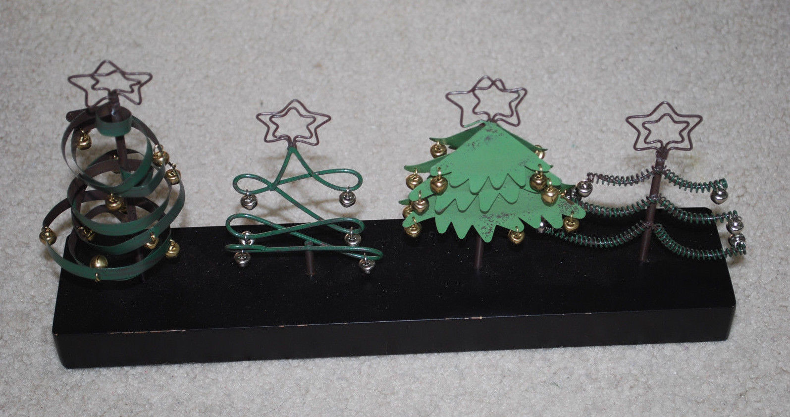 "Primary image for Christmas Tree Holiday Display 13""x6"" Metal Wood Stand Artsy Decor Black Green"
