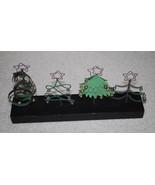 "Christmas Tree Holiday Display 13""x6"" Metal Wood Stand Artsy Decor Black... - $13.32"