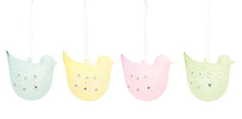 Spring Chick Ornaments Set of Four Pastel Glass w Sparkle