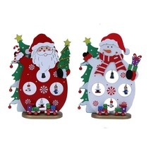 Christmas Table Decoration Santa Claus Snowman Wooden Pendant Home Decor... - $14.89