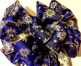 HUGE BEAUTIFUL CHRISTMAS SUN MOON  BLUE GOLD TREE TOPPER BOW QUALITY RIBBON - $33.60