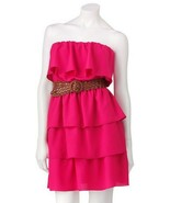 Lily Rose Juniors Fuschia Pink L Large 9-11 Tiered Halter Dress without ... - $19.99