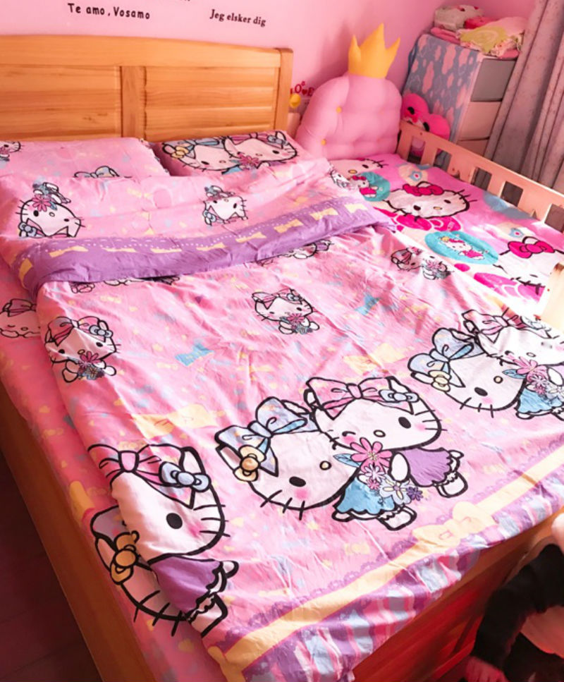 Hello Kitty Sister Cartoon QUEEN SIZE DOUBLE BED SHEET 4PC