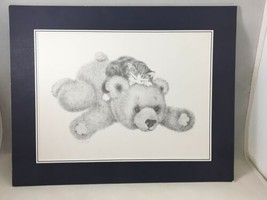 "Teddy Bear With Kitten Print With Mat 11.75""x9.5"" - $9.89"