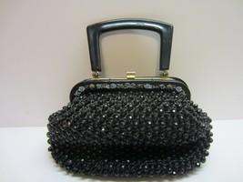 Vtg Black Rafia Woven Bead Beaded Purse Handbag Plastic Lucite Handle - $24.99