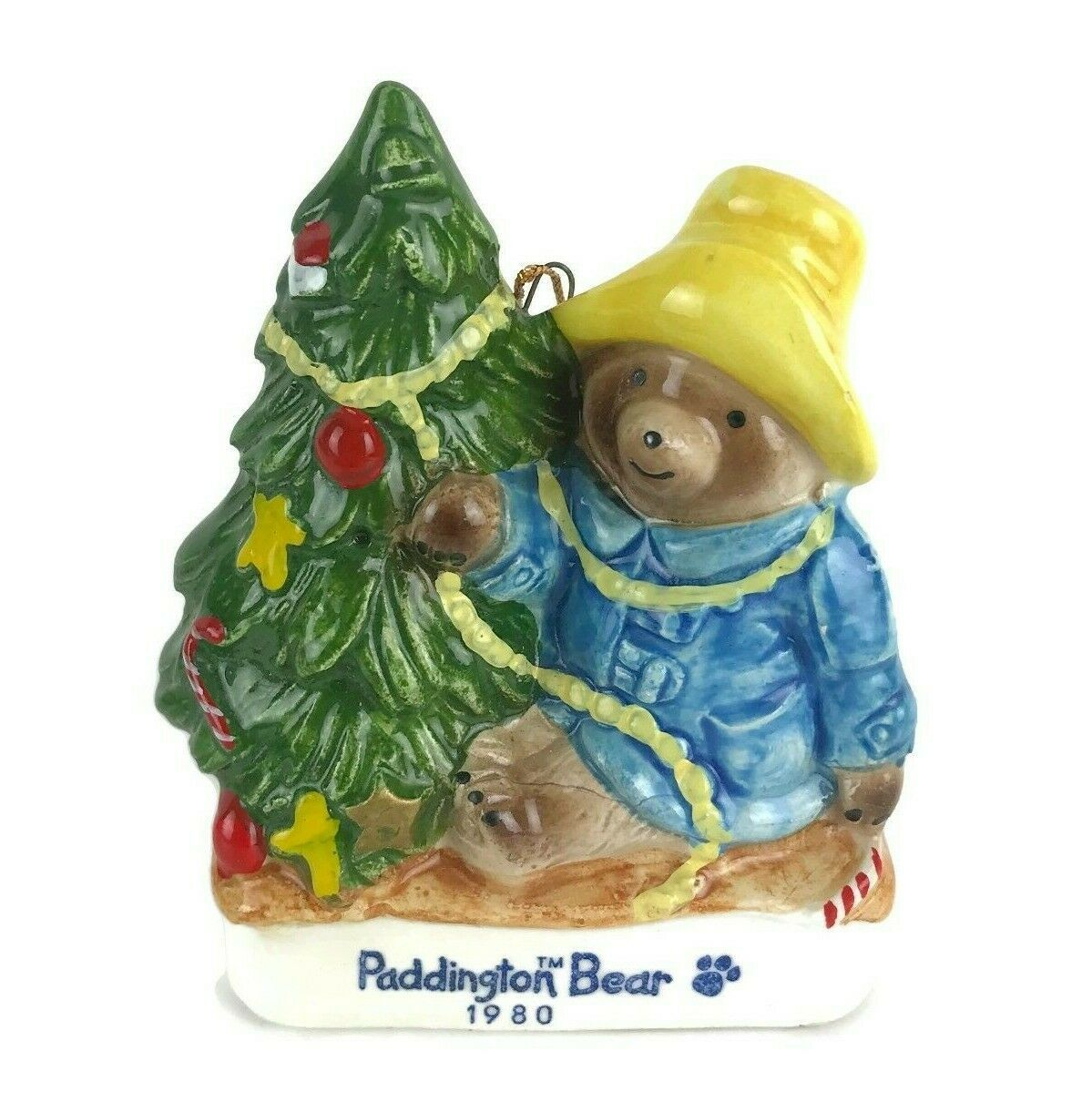 Vintage 1980 Schmid Paddington Bear Ceramic Christmas Tree Ornament 1st Edition - $18.53