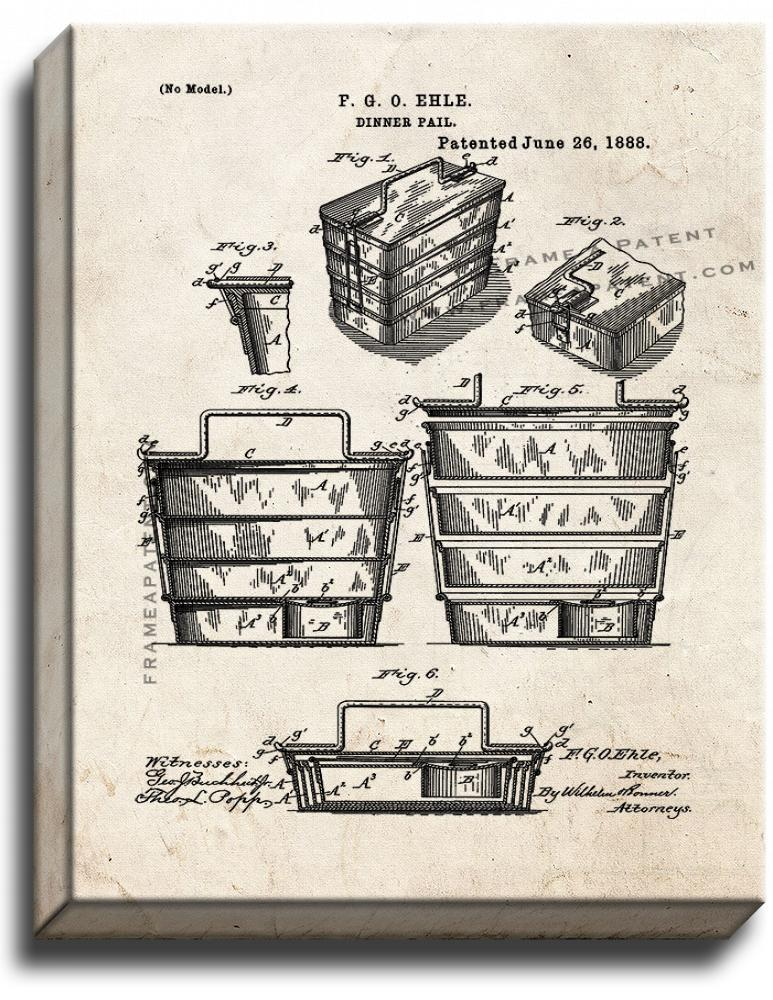 Primary image for Dinner Pail Patent Print Old Look on Canvas