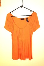 Axcess by Liz Claiborne; large, orange, long, scoop-neck short-sleeved s... - $18.69