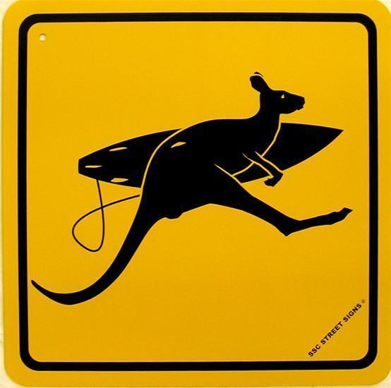 Surfer Kangaroo Crossing Australia Surf Surfing Aluminum Sign