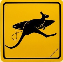 Surfer Kangaroo Crossing Australia Surf Surfing Aluminum Sign - $17.95