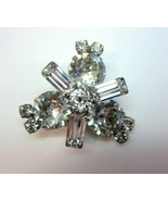 Vintage Pin Brooch with Large Clear Rhinestones in Silver Tone Setting - $9.99
