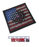 USA MADE RED,WHITE&BLUE on Black PAISLEY BANDANA Face Mask Neck SCARF He... - $9.99