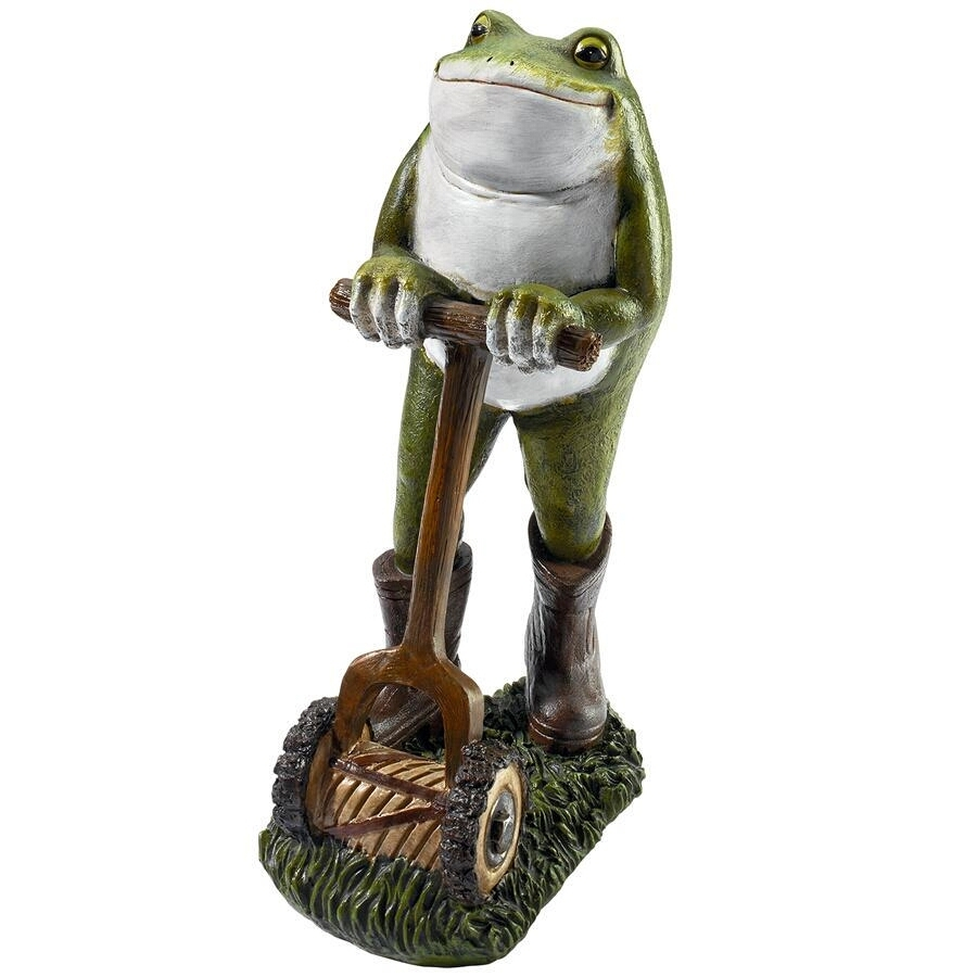 Moses the Garden Toad Lawn Mower Frog Statue