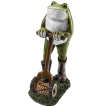Moses the Garden Toad Lawn Mower Frog Statue - $42.43