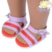 Releaserain Purple Red Stripe Sandals Doll Shoe... - $5.93