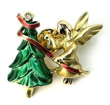 Vtg Angel Pin Costume Jewelry Christmas Tree Lapel  - $11.06