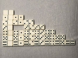 (27 of 28) Incomplete Vintage Double Six Dominoes Tiles Set Crafts Missi... - $24.74