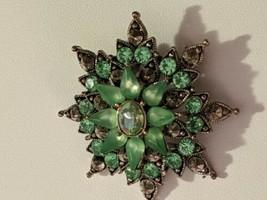 Vintage brooch pin green rhinestone jewelry - $9.90