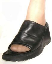 "Nine West ""CRYSTALLIN"" Women's Size 9.5 Black Leather Wedge Heel Mule (2... - $18.49"