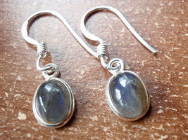 Small Labradorite Oval Ellipse 925 Sterling Silver Dangle Earrings New 760p - $11.87