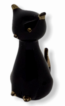 Vintage Black Cat Murano Glass Mid Century Gold Accents 14K Sleek Italia... - €70,57 EUR