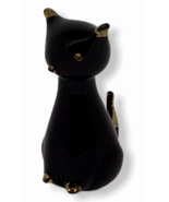 Vintage Black Cat Murano Glass Mid Century Gold Accents 14K Sleek Italia... - $84.14