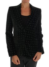 DOLCE & GABBANA Green Embroidered Velvet Blazer Jacket - $890.00