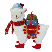 "Raz 8.5"" Bohemian Multicolor Plush Llama with Hat Christmas Tabletop Figure - $27.22"