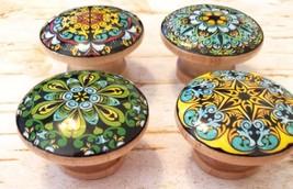 "Mandala Knobs, Set of 4 Green Blue Gold 1.5"" Knobs, Oriental Mandala Des... - $23.76"