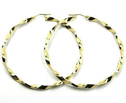 18K YELLOW GOLD CIRCLE HOOPS PENDANT EARRINGS BIG 5.6 cm x 4 mm BRAIDED, TWISTED image 1