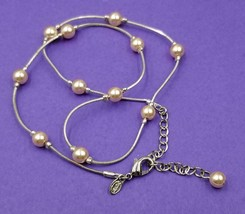 Vintage Faux Pink Pearls on Silver Tone Necklace By MONET W83 - $12.87