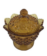 Colonial Amber Fenton Hobnail Candy Dish Lidded & Raised Scalloped Edge ... - $25.23