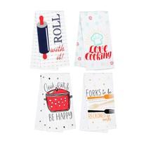 FLOUR SACK KITCHEN TEA TOWELS, Set of 4, Printed Cooking Designs Sayings, Cotton image 2